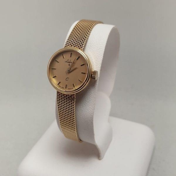 14 karaat gouden dames horloge met gouden band lesfreres nieuw quartz