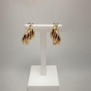 18 karaat gouden clip oorbel oorsieraad vintage tweede hands juwelier vuyk den haag