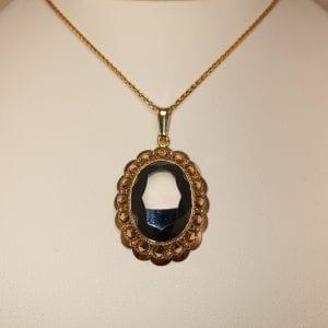 14 karaat gouden hematiet edelsteen hanger vintage tweede hands occasion juwelier vuyk den haag