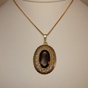 14 karaat gouden hanger rookkwarts edelsteen vintage hanger tweede hands occasion juwelier den haag
