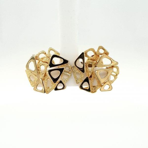 14 karaat gouden clip oorbel oorsierraad vintage modern juwelier den haag