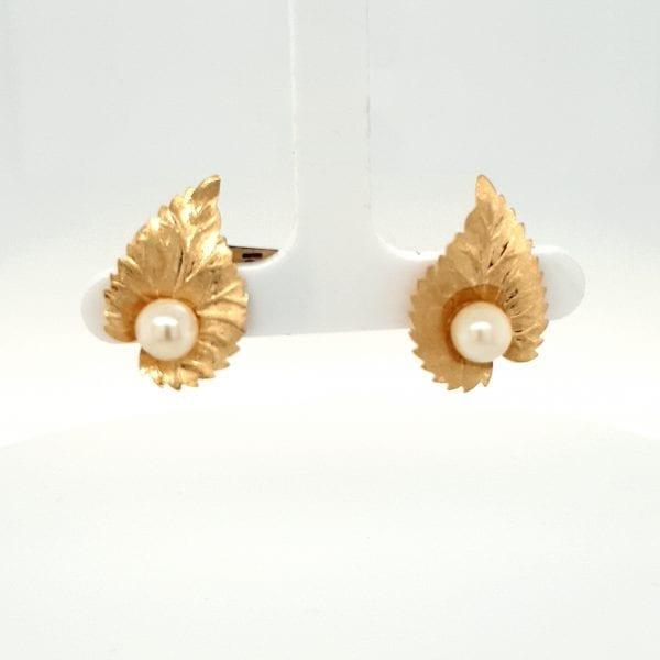 18 karaat gouden oorclip vintage blad tweede hands occasion juwelier den haag
