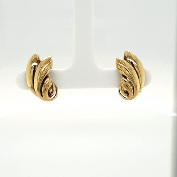 14 karaat gouden clipsen oorsieraad occasion tweede hands juwelier den haag