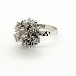14 karaat witgouden entourage ring briljant vintage tweede hands occasion juwelier den haag