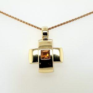 14 karaat geelgouden hanger citrien edelsteen vintage tweede hands occasion juwelier den haag