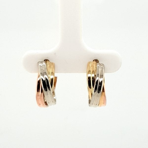 14 karaat tricolor oorsteker oorsieraad vintage juwelier den haag occasion tweede hands