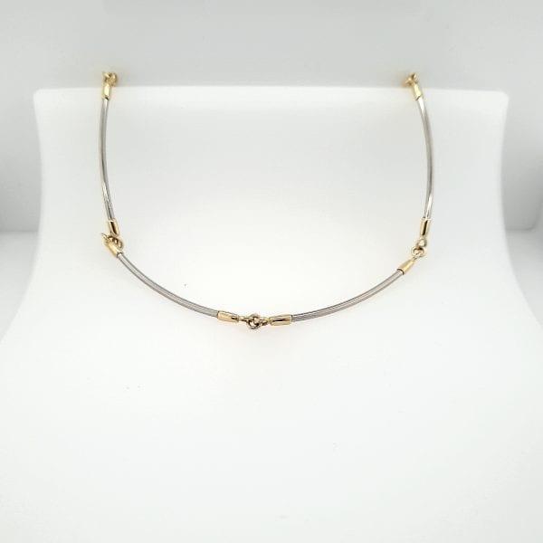 14 karaat bicolor gouden choker collier tweedehands vintage occasion juwelier den haag
