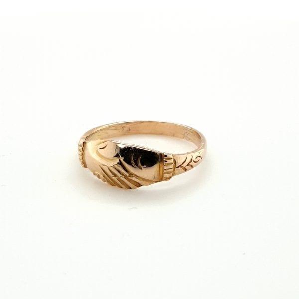 18 karaat gouden handjes ring occasion tweedehands vintage juwelier den haag