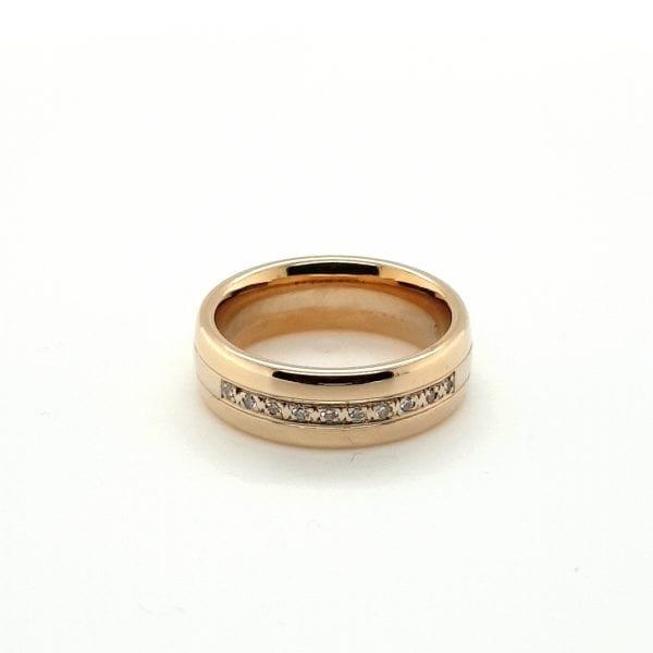 14 karaat gouden tricolor ring briljant vintage tweedehands occasion juwelier den haag