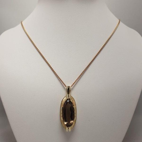 14 karaat gouden rookkwarts hanger occasion vintage tweede hands juwelier den haag