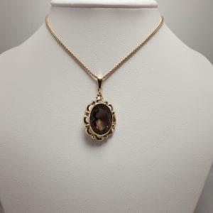 14 karaat gouden rookkwarts hanger edelsteen vintage occasion tweede hands juwelier den haag