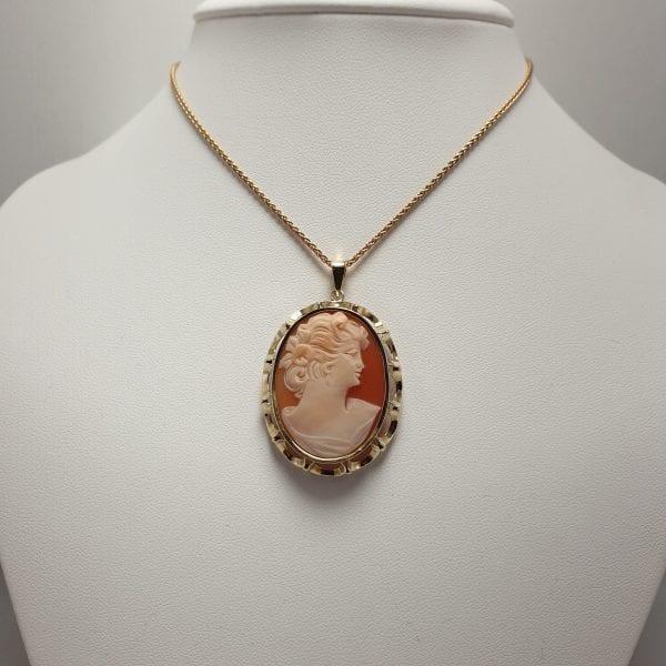 14 karaat gouden camee hanger vrouw dame vintage tweede hands occasion juwelier den haag