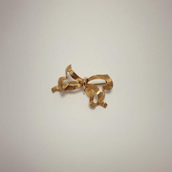 14 karaat gouden strik broche vintage tweedehands occasion juwelier den haag