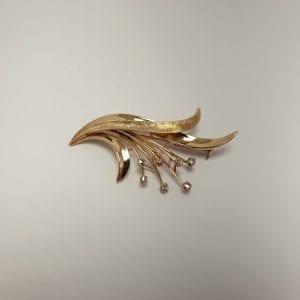 14 karaat gouden broche diamantroosslijpsel vintage occasion tweedehands juwelier den haag