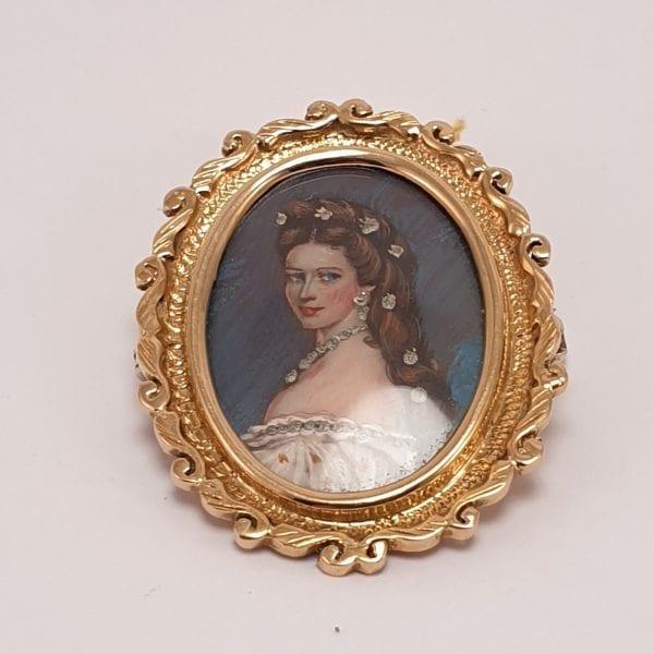 14 karaat gouden broche met miniatuur schilderij vrouw vintage tweede hands juwelier de haag