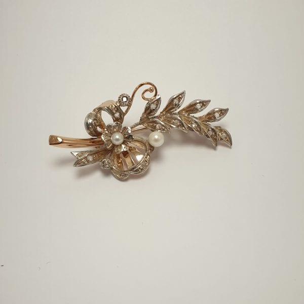 14 karaat gouden tak broche parel zirconia vintage tweedehands occasion juwelier den haag