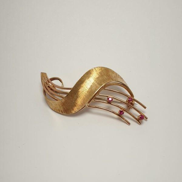 18 karaat gouden robijn broche vintage tweedehands occasion juwelier den haag