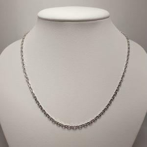 18 karaat wit gouden collier 45cm vintage ankerschakel tweedehands occasion juwelier de haag