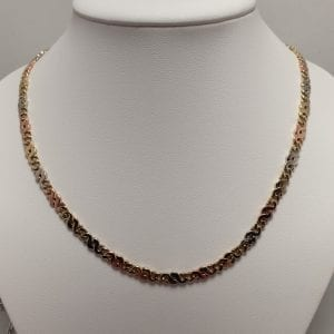 14 karaat driekleur collier 45 cm vintage massief occasion tweede hands juwelier den haag