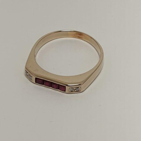 14 karaat robijn briljant ring vintage occasion tweede hands juwelier den haag