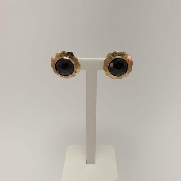 14 karaat granaat oorknop vintage edelsteen occasion tweede hands juwelier den haag