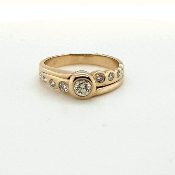 14 karaat gouden briljant ring vintage tweedehands occasion juwelier den haag