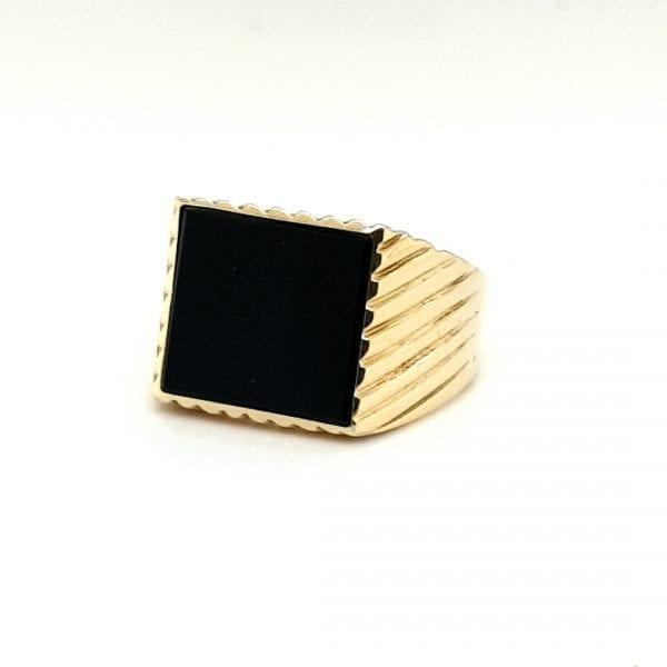 14 karaat gouden onix zegelring vintage tweede hands occasion juwelier den haag
