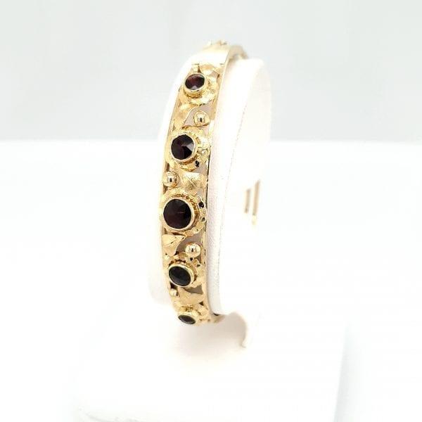 14 karaat granaat slavenband edelsteen vintage tweede hands occasion juwelier den haag