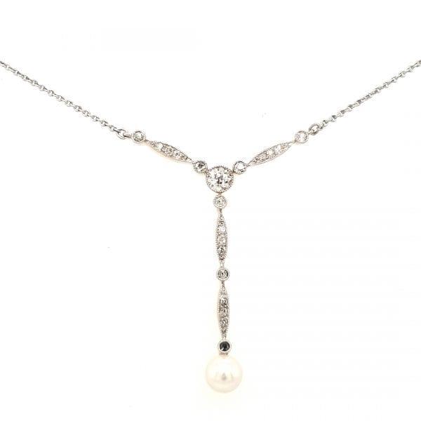 14 karaat wit gouden vintage choker met diamant tweede hands occasion juwelier den haag