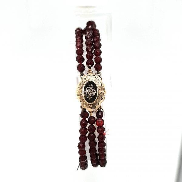 granaat edelsteen armband 3 rij met gouden sluiting klederdracht occasion juwelier den haag