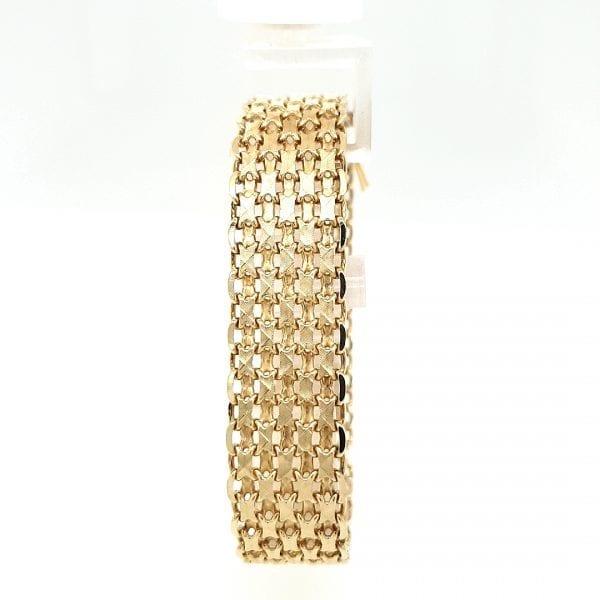 14 karaat geel gouden brede armband vintage occasion tweede hands juwelier den haag