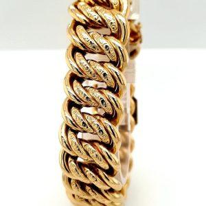 14 karaat gouden dubbele gourmet schakel armband vintage tweede hands occasion juwelier den haag leidschendam voorburg
