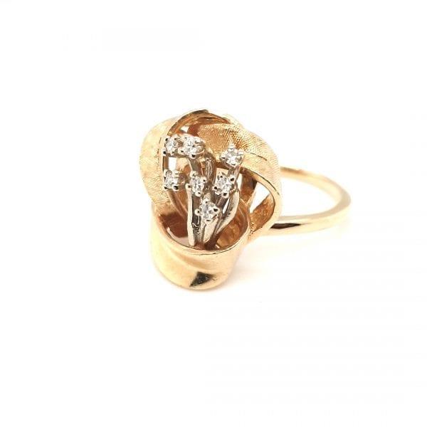14 karaat gouden briljant ring vintage tweede hands occasion oud goud jwelie den haag voorburg leidschendam vintage