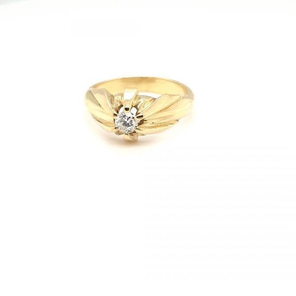 14 karaat gouden pink ring briljant tiffany ring occasion juwlie den haag voorburg leidschendam
