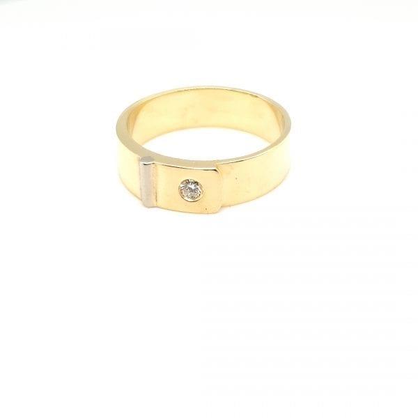 14 karaat gouden heren ring briljant vintage tweede hands juwelier den haag leidschendam voorburg occasion