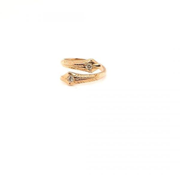 20 karaat gouden slang ring boljsewiek diamant vintage tweede hands occasion juwelier den haag