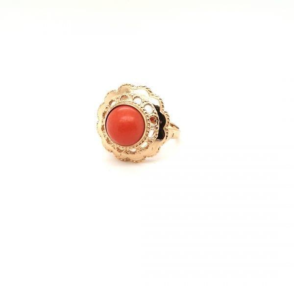 14 karaat gouden bloedkoraal ring vintage tweed hands occasion juwelier den haag