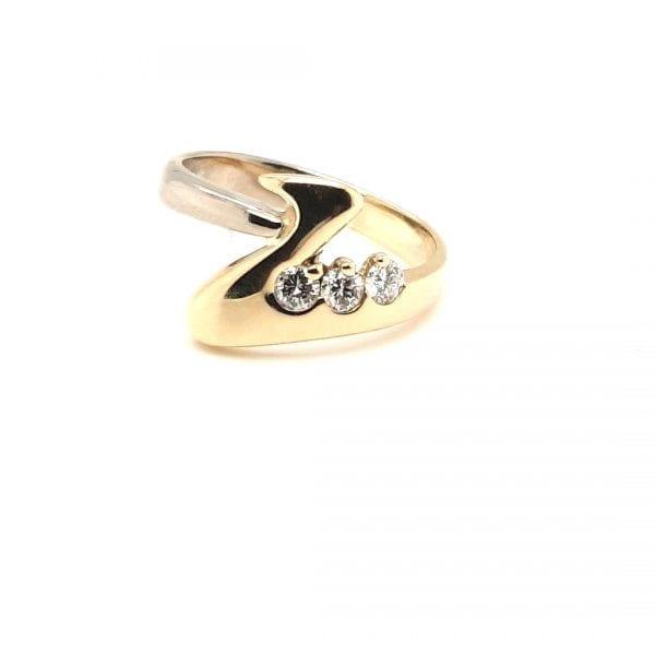 14 karaat bicolor diamant briljant ring vintage tweede hands ocasion juwelier den haag