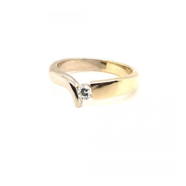 14 karaat bicolor briljant ring vintage tweede hands juwelier occasion den haag voorburg leidschendam