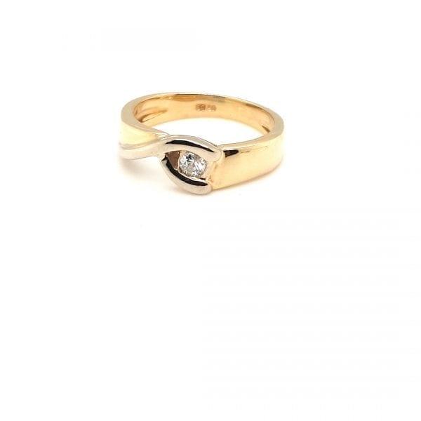 14 karaat bicolor ring briljant diamant occasion tweede hands vintage tweede hands juwelier den haag
