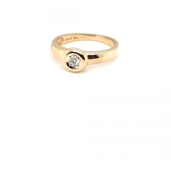 14 karaat gouden briljant ring diamant occasion vintage tweede hands juwelier den haag