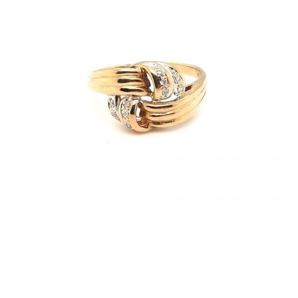 14 karaat gouden fantasie ring briljant diamant vintage occasion juwelier den haag