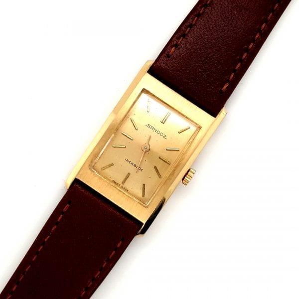 18 karaat Sandoz horloge mechanisch uurwerk vintage tweede hands occasion juwelier den haag leidschendam voorburg