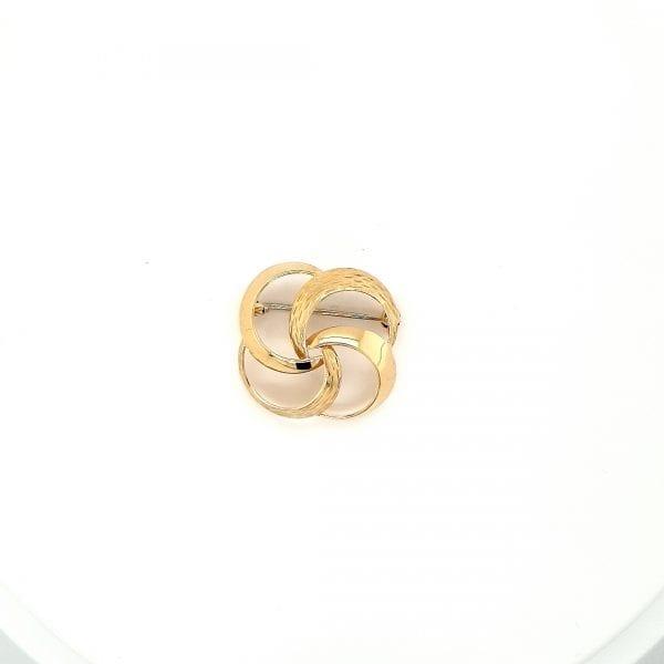 14 karaat gouden broche bloem vintage tweede hands occasion juwelier den haag