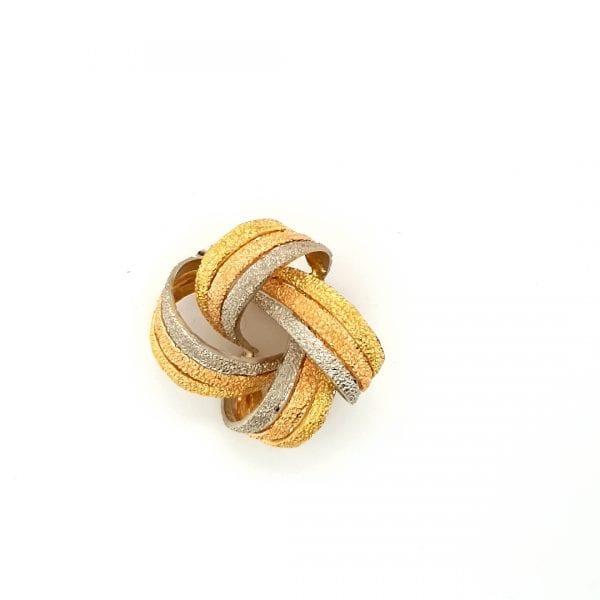 18 karaat tricolor broche knoop wolmerk vintage tweede hands occasion juwelier den haag