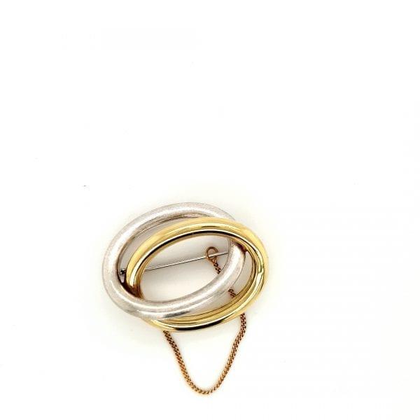 14 karaat bicolor broche occasion juwelier den haag
