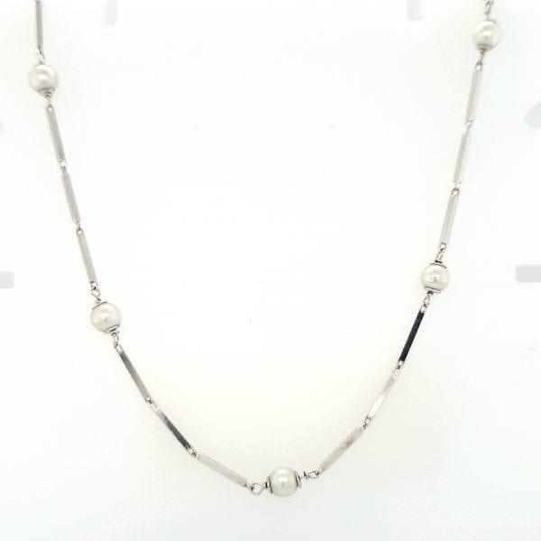 14 karaat witgouden collier cultive parels 90 cm chanel lengte vintage tweede hands occasion juwelier den haag
