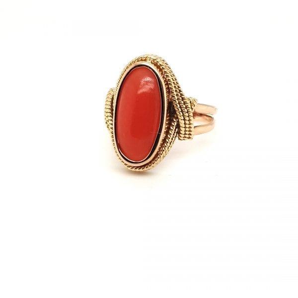 14 karaat bloedkoraal ring koord vintage tweede hands occasion juwelier den haag