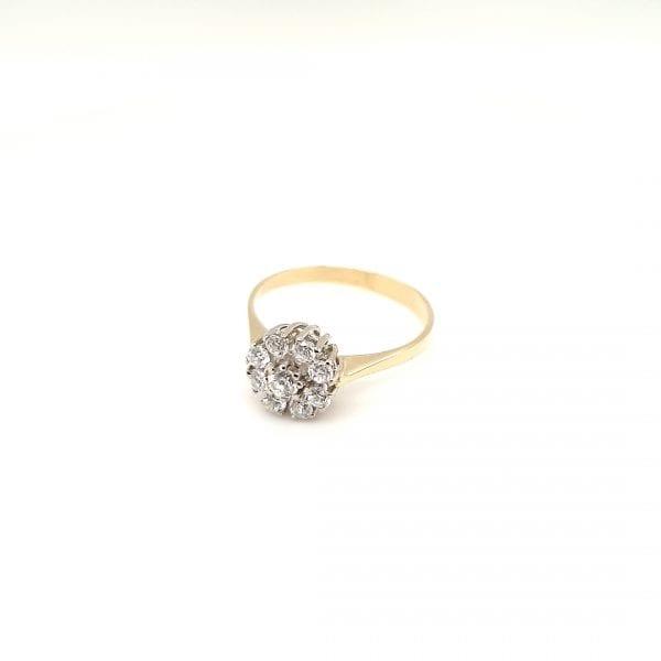 14 karaat entourage briljant ring dames vintage tweede hands occasion juwelier den haag