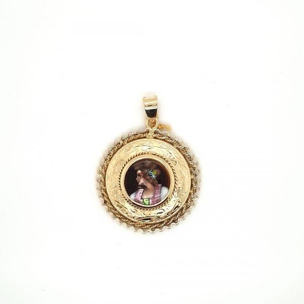 14 karaat emaille vrouw afbeelding hanger occasion juwelier den haag